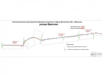 Съемки дорожного покрытия по улицам и проездам г Мытищи, М.О. 5590 м2